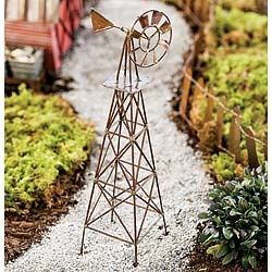 "11"" Rustic Windmill for Fairy Garden"