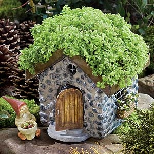 Stone Cottage with Planter Roof for Miniature Fairy Gardens