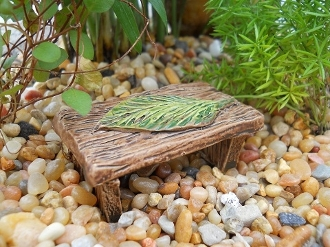 Leaf Wishing Bench for Miniature Fairy Gardens