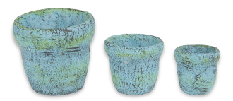 Blue Clay Pots - Set of 3