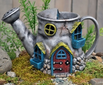 Watering Can Fairy Home w/Swing Door For Fairy Gardens