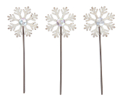 Set of 3 Snowflake Picks with Rhinestone.