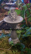 Birdbath with Cherub For Fairy Garden