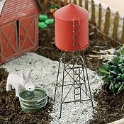 "8"" Red Tin Water Tower For Miniature Fairy Gardens"