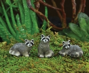 Raccoon Trio For Miniature Fairy Gardens