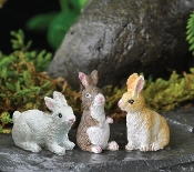Bunny Rabbit Trio For Miniature Fairy Gardens