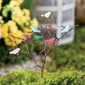 Metal Tree With Songbirds For Miniature Fairy Gardens
