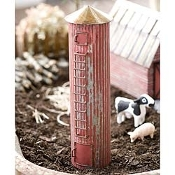 Rustic Red Tin Farm Silo For Miniature Fairy Gardens