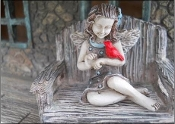 Evelyn April, Fairy With Cardinal For Miniature Gardens