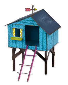 Colorful Treehouse for Miniature Fairy Gardens