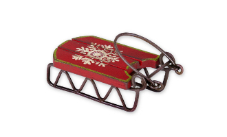 Snow Sled With Snowflake for Miniature Fairy Garden