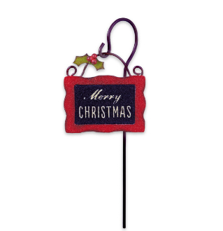 MERRY CHRISTMAS Sign on Post for Miniature Fairy Garden