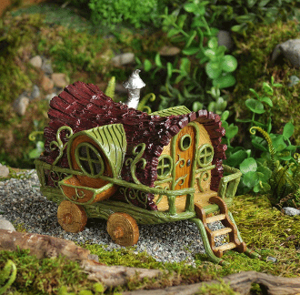 Gypsy Wagon House (Doors Open!) For Miniature Fairy Gardens