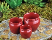 Set of 3 Red Miniature Planters for Fairy Gardens
