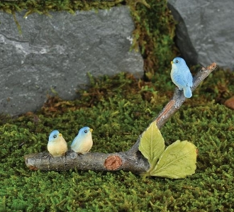 3 Birds on Branch For Miniature Fairy Gardens