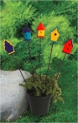 Set of 5 Colorful Birdhouses for Miniature Fairy Garden