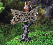 FAIRY CROSSING Garden Sign With Owl