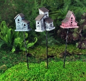 Wren Birdhouses, Set of 3, For Miniature Fairy Gardens