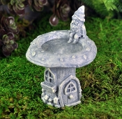 Gnome and Cottage Birdbath for Miniature Fairy Gardens