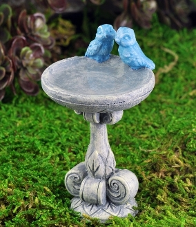 Kissing Bluebirds Birdbath for Miniature Fairy Gardens