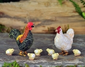 Rooster, Hen, and Chicks for Miniature Fairy Gardening