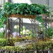 Set of Two Living Roof Iron Pavillions Arbor for Fairy Gardens