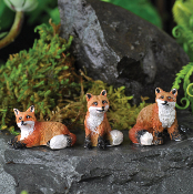 Set of 3 Fox For Miniature Fairy Gardens