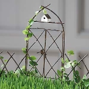Gate with Birdhouse for Miniature Fairy Gardens