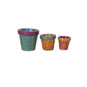 Sale -Set 3/Patterned Planters for Miniature Fairy Gypsy Gardens