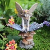 Scarlett the Fairy on Butterfly for Miniature Gardens