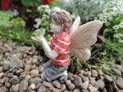 Ethan the Fairy with Frog For Miniature Fairy Gardens