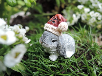 Santa Bunny For Miniature Fairy Gardens