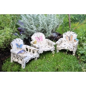 Set/3 White Rustic Butterfly Chairs for Miniature Fairy Gardens