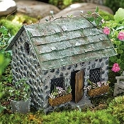 Stone Cottage with Shingled Roof For Fairy Gardens