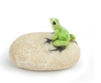 Frog On A Stone Landscape Accent For Miniature Fairy Gardens