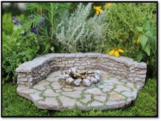 Stone Firepit Pad and Wall Set for Miniature Fairy Gardens