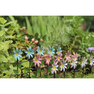 3 Pc Assorted Color Daisy Fence for Miniature Fairy Gardens