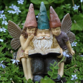 Story Time Elf Triplet for Miniature Fairy Gardens