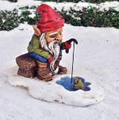 Ice Fishing Gnome With Hungry Guppie For Miniature Fairy Garden
