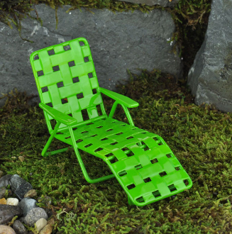 "Metal ""Webbed"" Green Sun Recliner For Miniature Fairy Gardens"