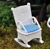 White Wicker Style Rocker For Miniature Fairy Gardens - 2.5""