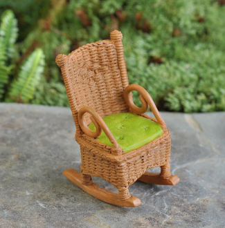 Brown Wicker Style Rocker - For Miniature Fairy Gardens 2.5""