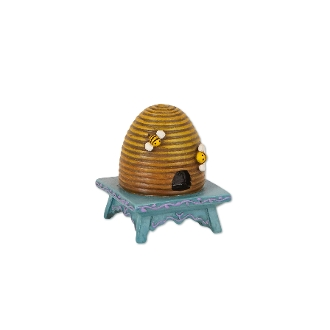 Beehive on Stool for Merriment Miniature Fairy Gardening