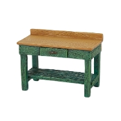Green Potting Bench for Merriment Miniature Fairy Gardening