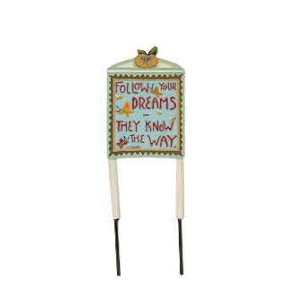 Follow Your Dreams Sign for Merriment Miniature Fairy Gardening