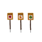 S/3 Veggie Garden Markers for Merriment Mini Fairy Gardening