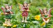 Set of 3 Fairies With Gazing Balls - Sidney, Riley, and Maia