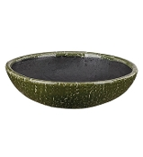 "13.5"" Green Crackle Ceramic Bowl/Container For Fairy Garden"