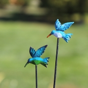 Set of 2 Hummingbird Picks -  For Miniature Fairy Gardens