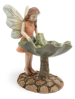Kenzie Looking At Frog Fairy For Miniature Fairy Gardens